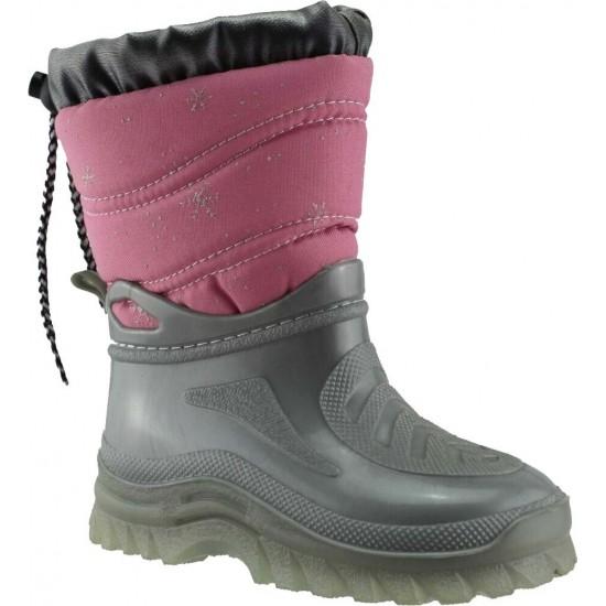 Adam's Shoes Παιδικές Γαλότσες Apres Ski 528-1539 Ασημί Ρόζ
