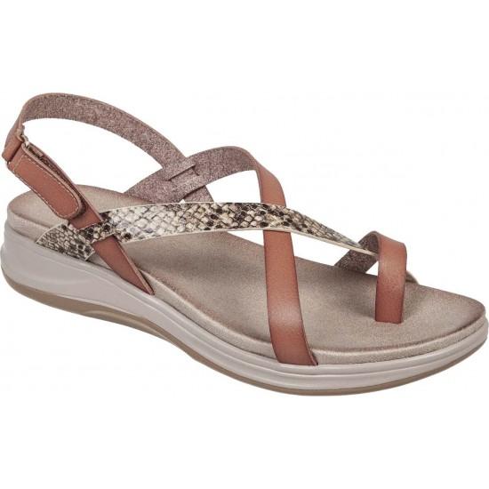 Adams Shoes Γυναικεία Πέδιλα Flatforms 927-20006 Καφέ Φίδι