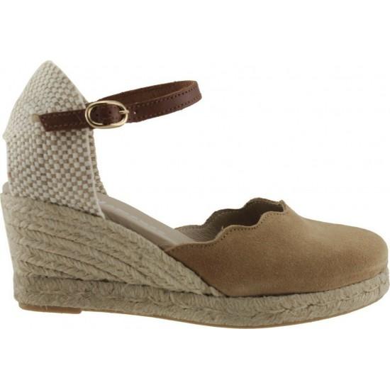 Adam's Shoes Γυναικείες Εσπαντρίγιες Flamingo Δέρμα 743-20004 Κάμελ