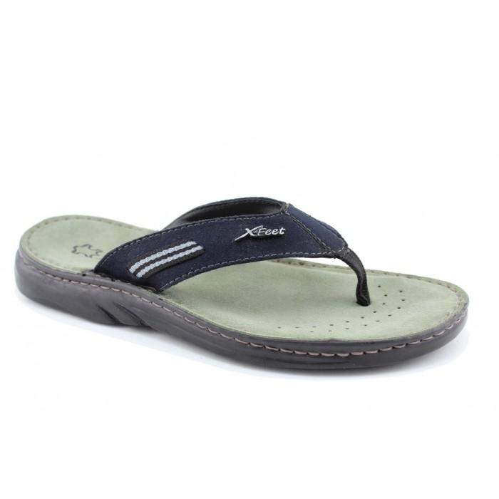 cdc58649bf2 X-Feet Ανδρικά Πέδιλα Δέρμα A54 Μαύρο | Milanos Shoes