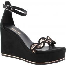 Bruni Shoes Γυναικεία Πέδιλα Πλατφόρμες 14019 Μαύρο Suede