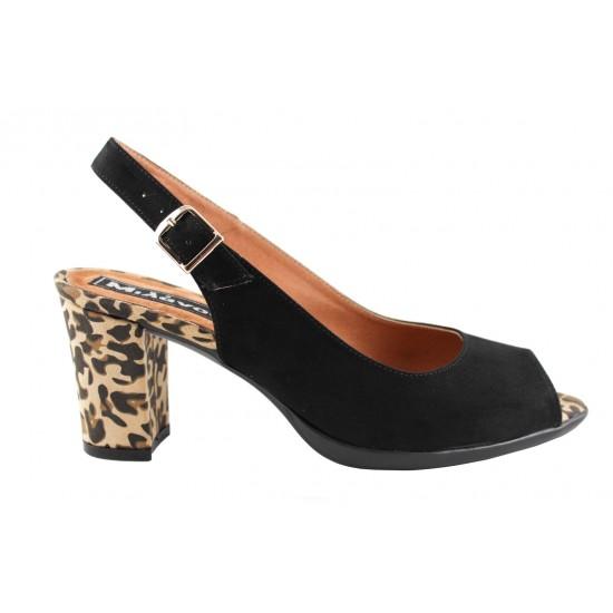 Milanos Γυναικεία Πέδιλα 4607 Μαύρο Suede Leopard
