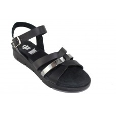 Road Shoes Γυναικεία Πέδιλα Flatforms Δέρμα 17126 Mαύρο Γραφίτης