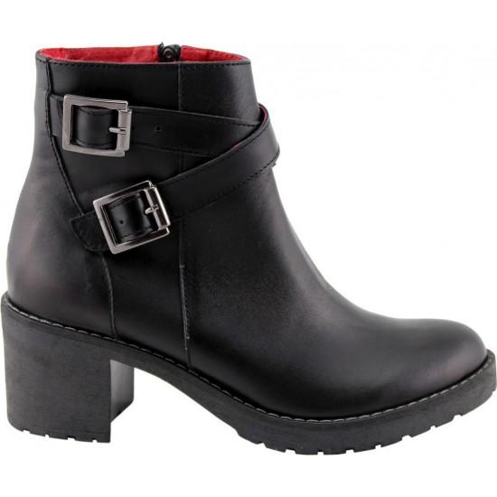 Road Shoes Γυναικεία Μποτάκια Δέρμα 17102 Μαύρο