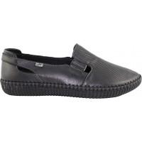 Road Shoes Γυναικεία Μοκασίνια Δέρμα 17113 Μαύρο