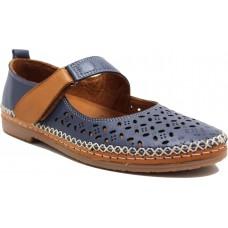 Road Shoes Γυναικεία Μοκασίνια Δέρμα 17216 Μπλέ