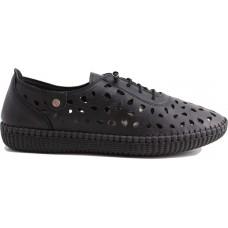 Road Shoes Γυναικεία Μοκασίνια Δέρμα 17191 Μαύρο