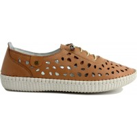 Road Shoes Γυναικεία Μοκασίνια Δέρμα 17191 Ταμπά