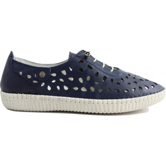Road Shoes Γυναικεία Μοκασίνια Δέρμα 17191 Μπλέ