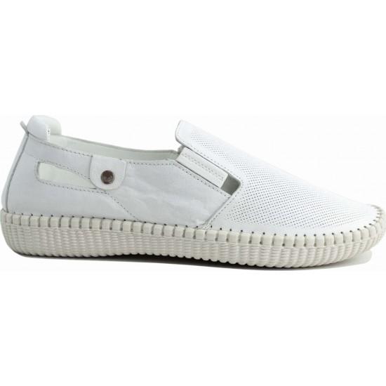 Road Shoes Γυναικεία Μοκασίνια Δέρμα 17113 Λευκό