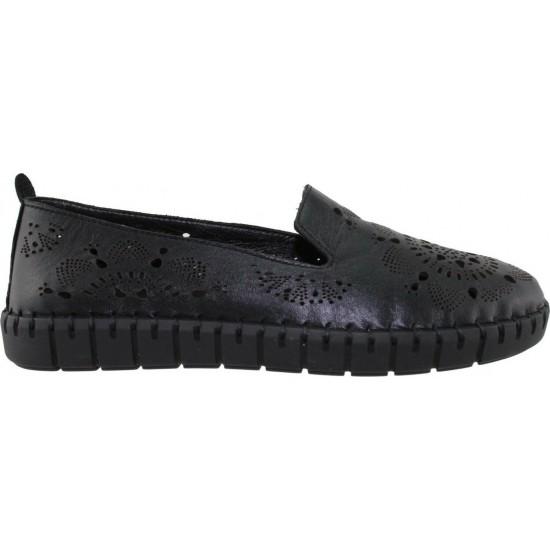 Road Shoes Γυναικεία Μοκασίνια Δέρμα 17272 Μαύρο