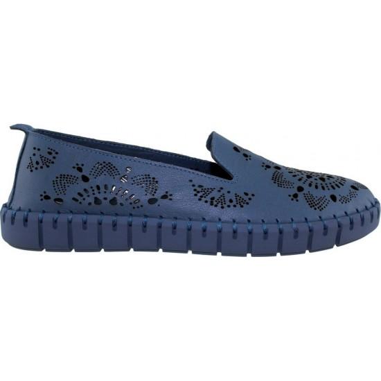 Road Shoes Γυναικεία Μοκασίνια Δέρμα 17272 Μπλέ