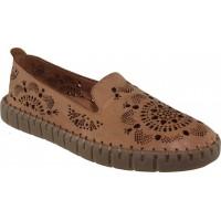 Road Shoes Γυναικεία Μοκασίνια Δέρμα 17272 Ταμπά