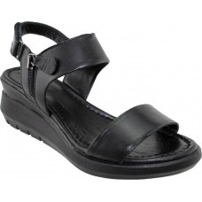 Road Shoes Γυναικεία Πέδιλα Πλατφόρμες Δέρμα 17279 Μαύρο