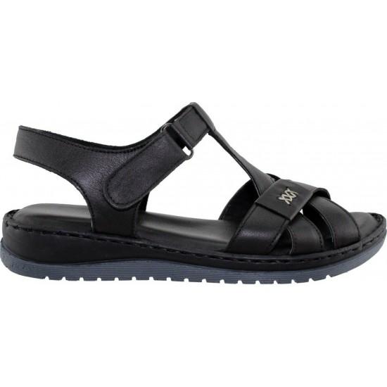 Road Shoes Γυναικεία Πέδιλα Flatforms Δέρμα 17288 Mαύρο