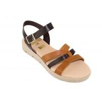 Road Shoes Γυναικεία Πέδιλα Flatforms Δέρμα 17126 Nude Χαλκός