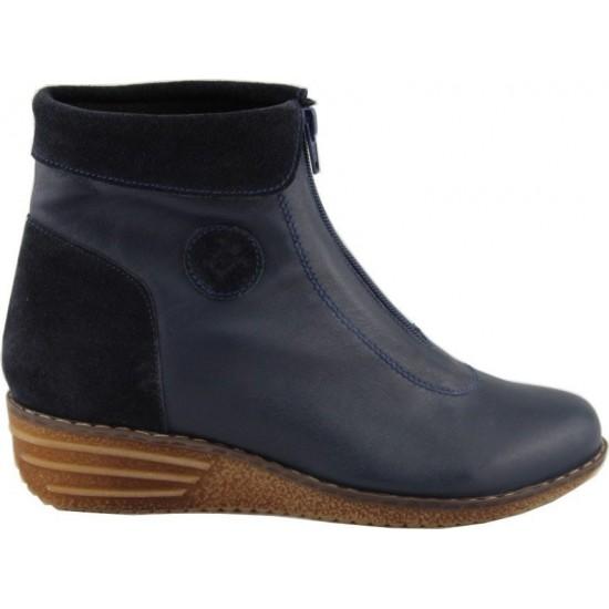 Remake shoes Γυναικεία Μποτάκια Δέρμα 5208 Μπλέ