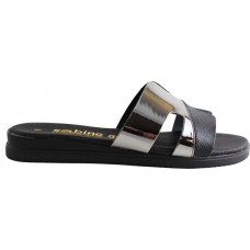 Sabino Shoes Γυναικεία Flatforms Δέρμα Γ-3504-1 Μαύρο Ατσαλί