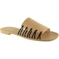 Sandia Shoes Γυναικεία Σανδάλια Δέρμα P-012 Μπέζ Μαύρο