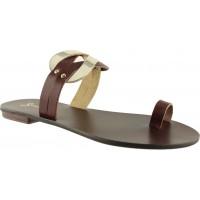 Sandia Shoes Γυναικεία Σανδάλια Δέρμα P-002 Καφέ Χρυσό