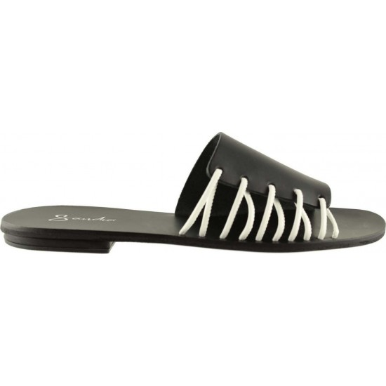 Sandia Shoes Γυναικεία Σανδάλια Δέρμα P-012 Mαύρο Λευκό