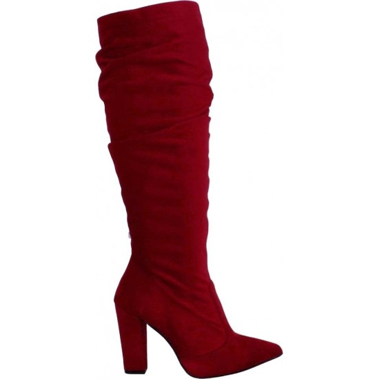 Stefania Γυναικείες Μπότες 2000 Κόκκινο Suede