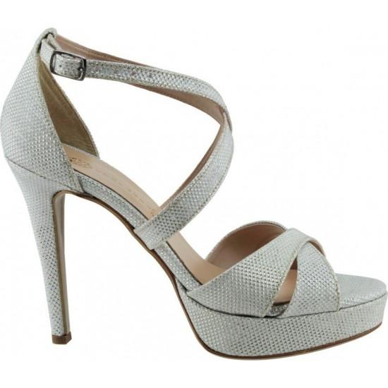 Stefania Γυναικεία Πέδιλα 4919 Λευκό Ασημί Glitter
