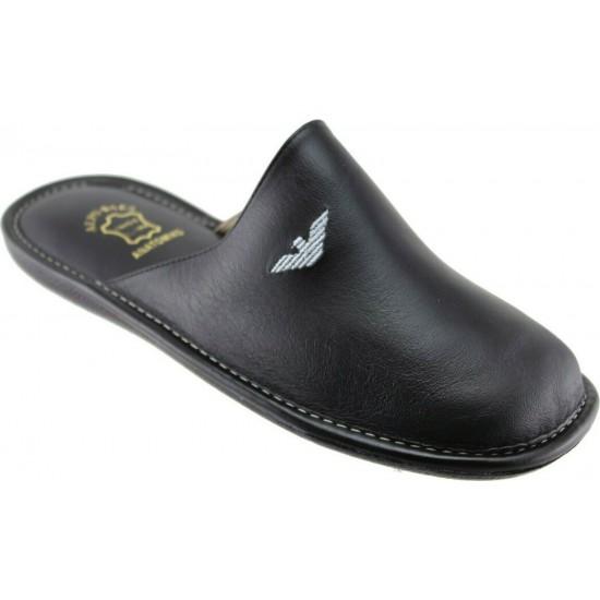 Zak Shoes Ανδρικές Παντόφλες Δέρμα SO1545 Μαύρο